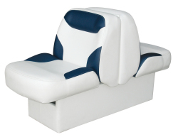 Bayliner Capri and Classic Back-to-Back Lounge Seat with Floor Base, White-Blue - Wise