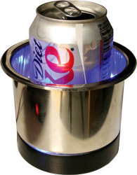 S.S. Recessed Cup Holder, Blue LED - Seasense