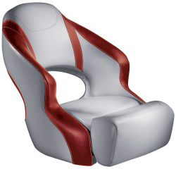 Aergo 240 Boat Bucket Seat with Bolster, Gray & Red - Attwood