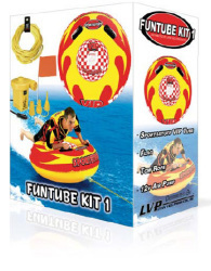 "1-Person Airhead FunTube Kit: 49"" Boat Tube, 50' Tow Rope, Ski Flag & 12v Air Pump"