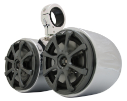 Kicker KS65 Polished & Anodized Double Barrel Speakers (Universal) - Monster Tower