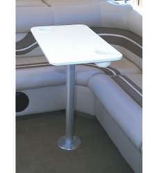 "White Polymer Table With Stowable 30"" Pedestal - Garelick"