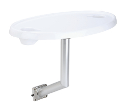 Acrylic Coated Oval Table with Stainless Steel Side Mount - Garelick