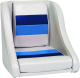 Stripe Premium Pontoon Captain Bucket Seat, Gray/Navy/Light Blue - Action Products