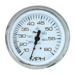 Chesapeake SS White Speedo 60Mph Gauge - Faria