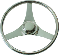 "Stainless Steel Steering Wheel, 15-1/2"" - Seasense"