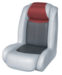 Blast-Off Tour Series High Back Bass Bucket Seat, Gray-Charcoal-Red - Wise Boat Seats