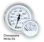 Chesapeake SS White Speedo 80Mph Gauge - Faria
