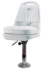 "Standard Pilot Seat 013 with Cushions, 12-18"" Adjustable Pedestal and Seat Slide - Wise Boat Seats"