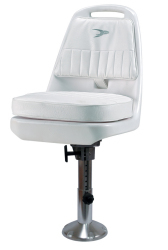 "Standard Pilot Seat 013 with Cushions, Mounting Plate, 12-18"" Adjustable Pedestal and Seat Spider - Wise Boat Seats"