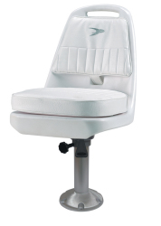 "Standard Pilot Seat 013 with Cushions, Mounting Plate, 15"" Fixed Pedestal and Seat Spider - Wise Boat Seats"