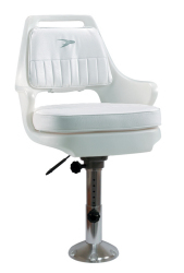 "Standard Pilot Chair 015 with Cushions, 12-18"" Adjustable Pedestal and Seat Slide - Wise Boat Seats"