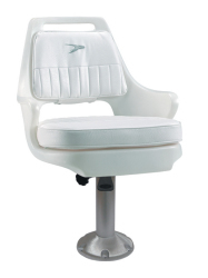 "Standard Pilot Chair 015 with Cushions, Mounting Plate, 15"" Fixed Pedestal and Seat Spider - Wise Boat Seats"