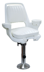 "Captain Chair 1007 with Cushions, Mounting Plate, 12-18"" Adjustable Pedestal and Seat Spider - Wise Boat Seats"