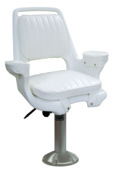 Captain Chair 1007 with Cushions, Fixed Pedestal and Seat Slide - Wise Boat Seats