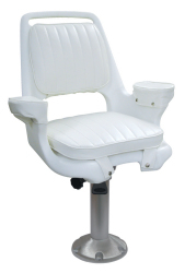 "Captain Chair 1007 with Cushions, Mounting Plate, 15"" Fixed Pedestal and Seat Spider - Wise Boat Seats"