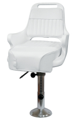 "Ladder Back Pilot Chair 1095 with Cushions, 12-18"" Adjustable Pedestal and Seat Slide - Wise Boat Seats"