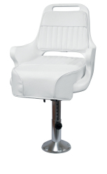 """Ladder Back Pilot Chair 1095 with Cushions, Mounting Plate, 12-18"""" Adjustable Pedestal and Seat Spider - Wise Boat Seats"""