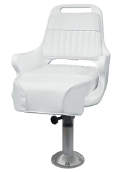 """Ladder Back Pilot Chair 1095 with Cushions, Mounting Plate, 15"""" Fixed Pedestal and Seat Spider - Wise Boat Seats"""