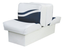 Back-to-Back Lounge Seat Weekender Series, White-Navy - Wise Boat Seats