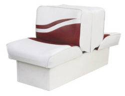 Back-to-Back Lounge Seat Weekender Series, White-Red - Wise Boat Seats