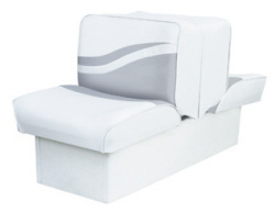 Back-to-Back Lounge Seat Weekender Series, White-Gray - Wise Boat Seats
