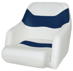 Bucket Seat 1205 with Arms and Flip-Up Bolster, Brite White-Midnite Blue - Wise Boat Seats