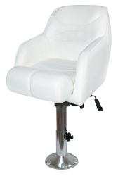 "Bucket Seat 1205 with Arms, Flip-Up Bolster, 12""-18"" Adjustable Pedestal and Seat Slide, White - Wise Boat Seats"