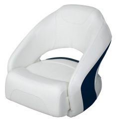 Bucket Seat 1217 with Flip-Up Bolster, Brite White-Midnite Blue - Wise Boat Seats