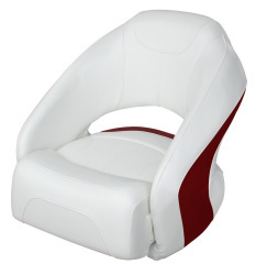 Bucket Seat 1217 with Flip-Up Bolster, Brite White-Dark Red - Wise Boat Seats