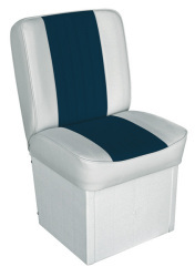 Jump Seat Deluxe Runner, White-Navy - Wise Boat Seats
