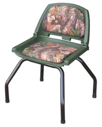 Hunting Blind Folding Plastic Seat with Stand, Camouflage RealTree All Purpose Green - Wise Boat Seats