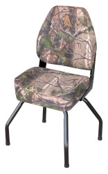 Hunting Blind Folding High Back Seat with Stand, Camouflage RealTree All Purpose Green - Wise Boat Seats