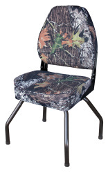 Hunting Blind Folding High Back Seat with Stand, Camouflage Mossy Oak Break Up - Wise Boat Seats