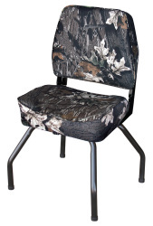Hunting Blind Folding Low Back Seat with Stand, Camouflage Mossy Oak Break Up - Wise Boat Seats