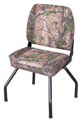 Hunting Blind Folding Low Back Seat with Stand, Camouflage RealTree All Purpose Green - Wise Boat Seats