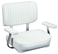 Helm Chair with Padded Arm Rests, White - Wise Boat Seats