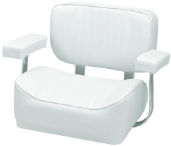 Padded Helm Chair with Arm Rests, White - Wise Boat Seats