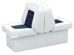 Back-to-Back Lounge Seat Deluxe Skyline, White-Navy - Wise Boat Seats