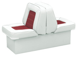 Back-to-Back Lounge Seat Deluxe Skyline, White-Red - Wise Boat Seats