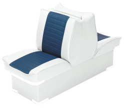 Back-to-Back Lounge Seat Deluxe Plus, White-Navy - Wise Boat Seats