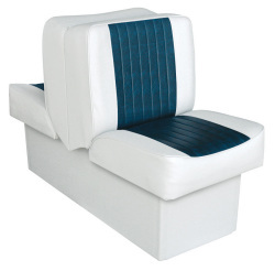 Back-to-Back Lounge Seat Deluxe Runner, White-Navy - Wise Boat Seats