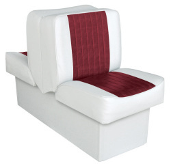 Back-to-Back Lounge Seat Deluxe Runner, White-Red - Wise Boat Seats