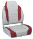Stripe High Back Folding Fishing Seat 892, Marble-Dark Red - Wise Boat Seats