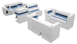 Deluxe Pontoon Complete Boat Group E, White-Navy-Blue - Wise Boat Seats
