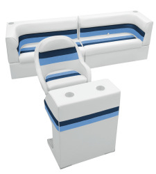 Deluxe Pontoon Rear Group B, White-Navy-Blue - Wise Boat Seats