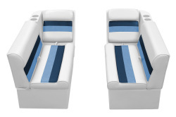 Deluxe Pontoon Front Group C, White-Navy-Blue - Wise Boat Seats