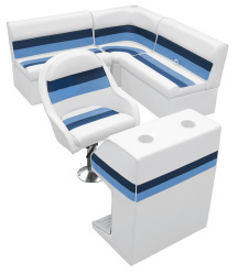 Deluxe Pontoon Rear Group D, White-Navy-Blue - Wise Boat Seats