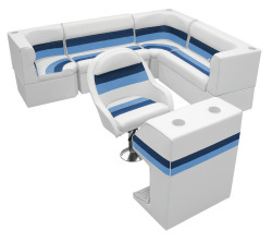 Deluxe Pontoon Rear Group F, White-Navy-Blue - Wise Boat Seats