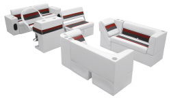 Deluxe Pontoon Complete Boat Group E, White-Charcoal-Red - Wise Boat Seats